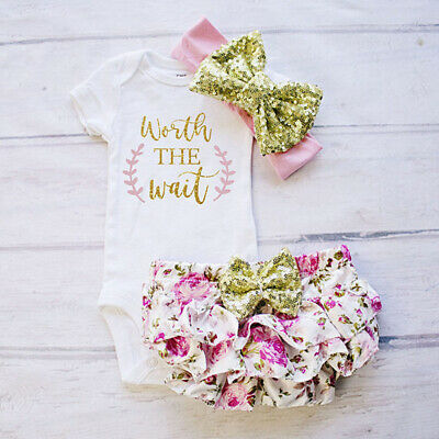Newborn Baby Girl Tops Romper Bodysuit Jumpsuit Shorts Pants Outfits Clothes Set