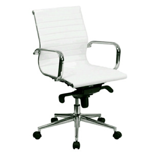 Mid-Back White Ribbed Leather Swivel Conference Chair