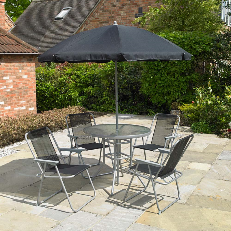 Garden Furniture - Garden Patio 6 Piece Furniture Set 4 Seater Dining Set Parasol Table And Chairs
