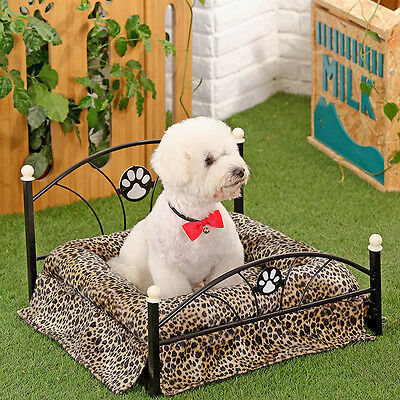 Metal Frame Small Dog Bed Including Mattress Pet Removable Replacement Cover