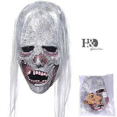 Horror White Hair Adult Zombie Latex Halloween Mask Fancy Party Costume Dress