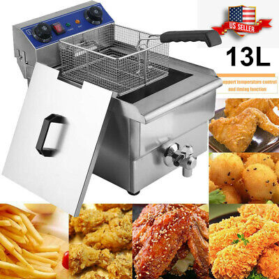 Commercial Restaurant Electric 13l Deep Fryer Wtimer And Drain Stainless Steel