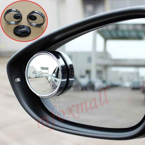 2X Car Rear View Side Adjustable Convex Blind Spot Mirror Round Wide Angle Trim