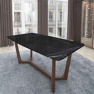 Luxurious Italian Marble & Solid Wood Dining Table