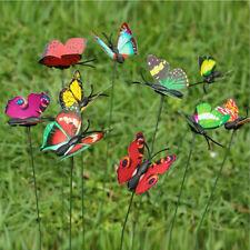 20pcs Plastic Butterfly On A Stick For Home Garden Decor Plant Vase Pot S2J7
