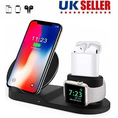 3 in 1 Wireless Charger Qi Fast Charging Dock for Apple Watch and Airpods iPhone