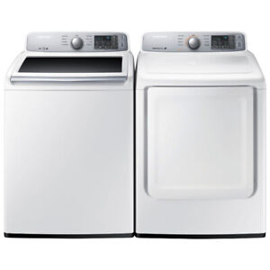 """Samsung WA45H7000AW 27"""" Top Load Washer 5.2 Cu. Ft and Dryer"""