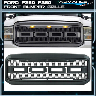 Front Grill for Ford F250//F350 2005 2006 2007 Matte Black Raptor Style Grill Grille Replacement Amber LED Lights Included
