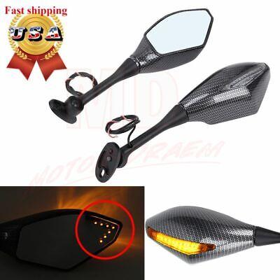 Carbon Fiber LED Integrated Turn Signal Mirrors for Honda CBR 600 F4i 929 RR New