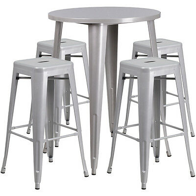 30 Round Silver Metal Indoor Outdoor Restaurant Bar Table Set W 4 Barstools