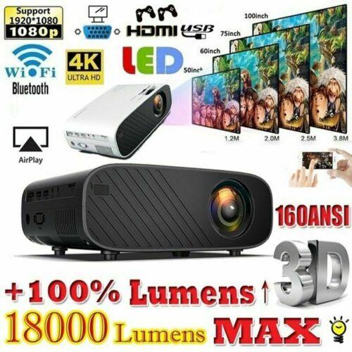 4K 1080P Android WIFI Projektor Bluetooth LED 3D Heimkino Beamer Multimedia NEU.