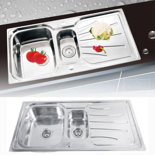 1.5 Becken Küchenspüle Edelstahlspüle Waschbecken Einbauspüle Edelstahl Leinen