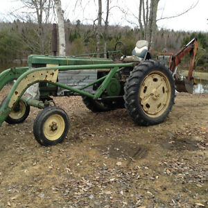 John Deere tractor with backhoe