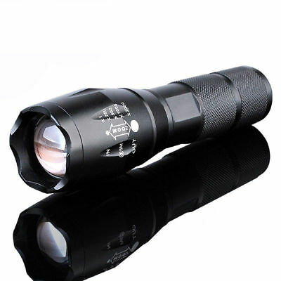 50000Lumens XM-L T6 Zoomable Tactical 18650 Flashlight Military Zoom Torch Lamp