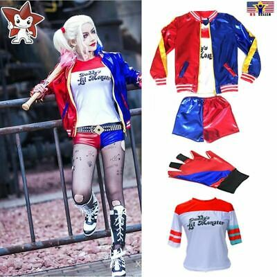 Halloween Costume Super Hero Harley Quinn Deluxe T-shirt Jacket Coat Short Glove