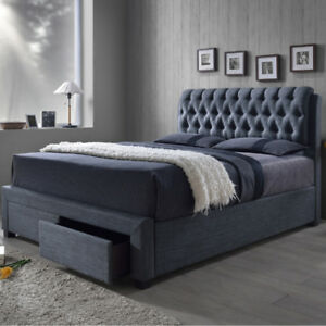 Warren Queen Size Bed with Storage Drawers - Slate