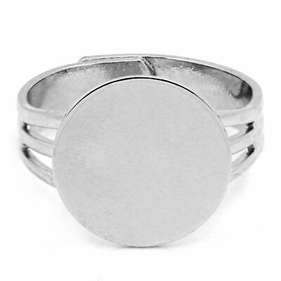 Ring Making Supplies (Adjustable Ring Blank Base 10pcs Silver Tone Jewelry Findings Making)