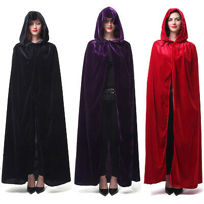 Witches Cloak (Men Women Velvet Cape Hood Halloween Robe Medieval Witch Cosplay Costume)