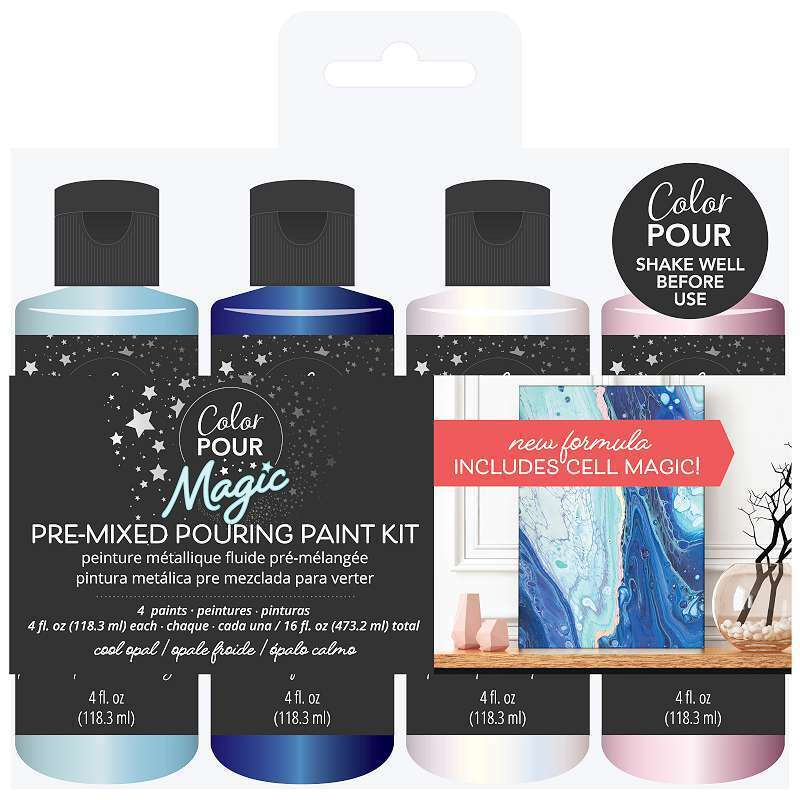 American Crafts Color Pour Magic Pre-Mixed Paint Kit 4/Pkg Cool O 718813570954