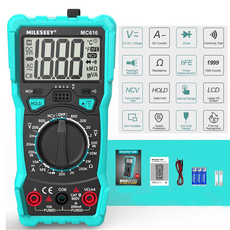 MiLESEEY Digital LCD Multimeter Tester Voltmeter Ammeter AC DC OHM Current Meter