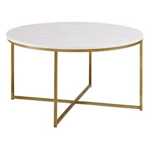Walker Edison Af36alctmgd 36 Coffee Table With X Base Marble Gold