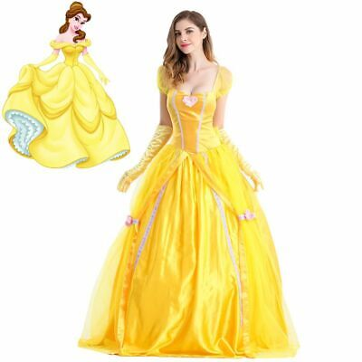 Beauty And The Beast Belle Costume Adults (Adult Beauty and The Beast Princess Belle Cosplay Costume Ball Gown Yellow)