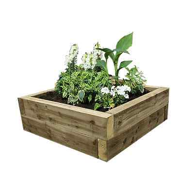 Green Eco-Treated Softwood Raised Bed Kit - Made From Sleepers - Garden Planter