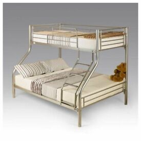 your dream furniture-Trio Sleeper Metal Bunk Bed Frame in silver Color-Mattress Options