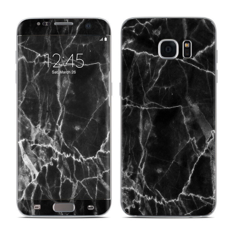 Galaxy S7 Edge Skin - Black Marble - Sticker Decal