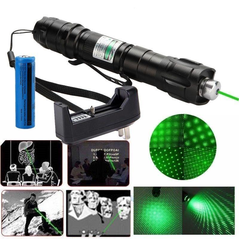 500Mile Green Laser Pointer Pen 532nm 2in1 Portable Bright+Star Cap+Batt+Charger