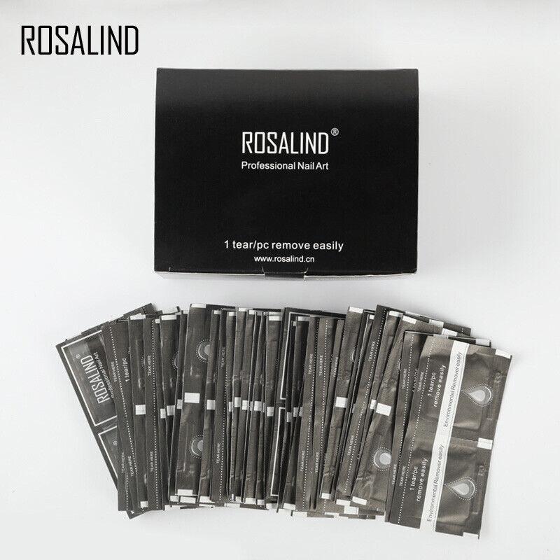 ROSALIND 10-200PCS Nail Art Soak Off Remover Gel Polish Nail Wipes Wraps Remover