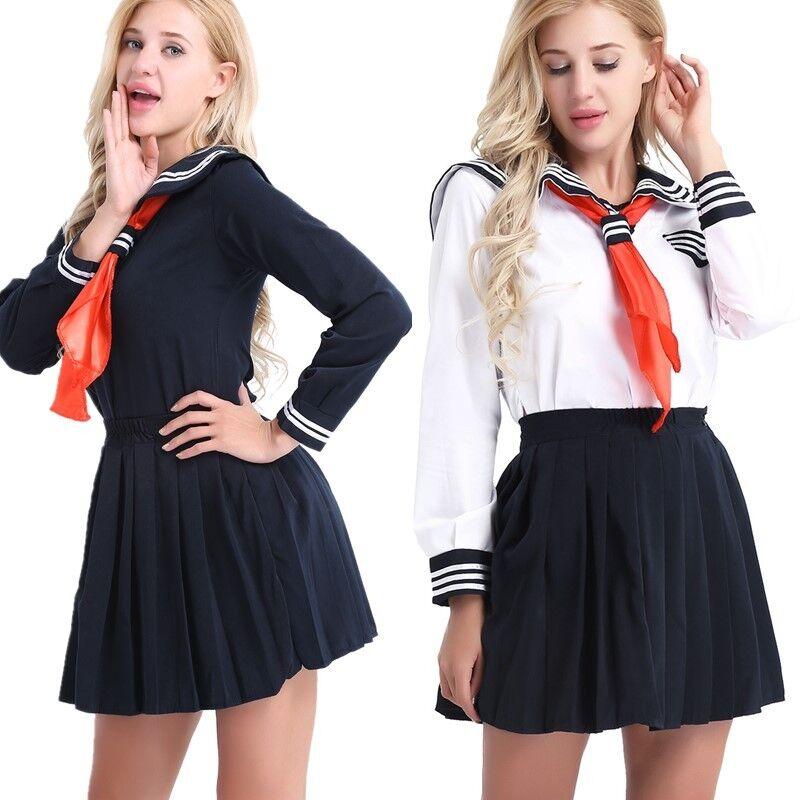 Women Sailor Naughty Japanese School Girl Uniform Costume Fancy Dress Outfit New