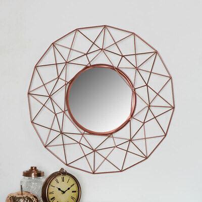 Grande Geométrico Metal Cobre Marco Alambre Redondo Espejo Industrial Hogar Deco