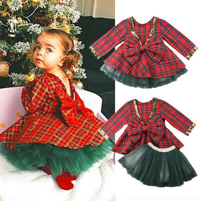 Long Dress Girl (Cute Xmas Toddler Kids Baby Girls Party Plaid Long Sleeve Dress Skirt Clothes)