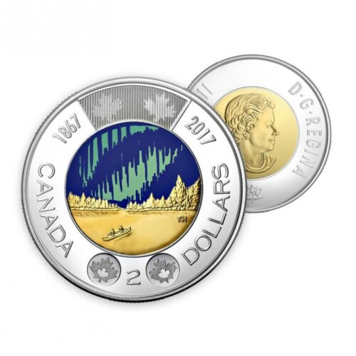 2017 Glow in the Dark Toonie, Canada 150 $2 Coin *BEAUTIFUL* *SHIPS IMMEDIATELY*