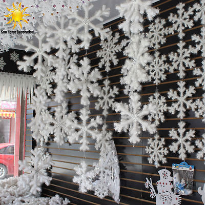 30pcs Classic White Snowflake Ornaments Christmas New Year Party Home Decor