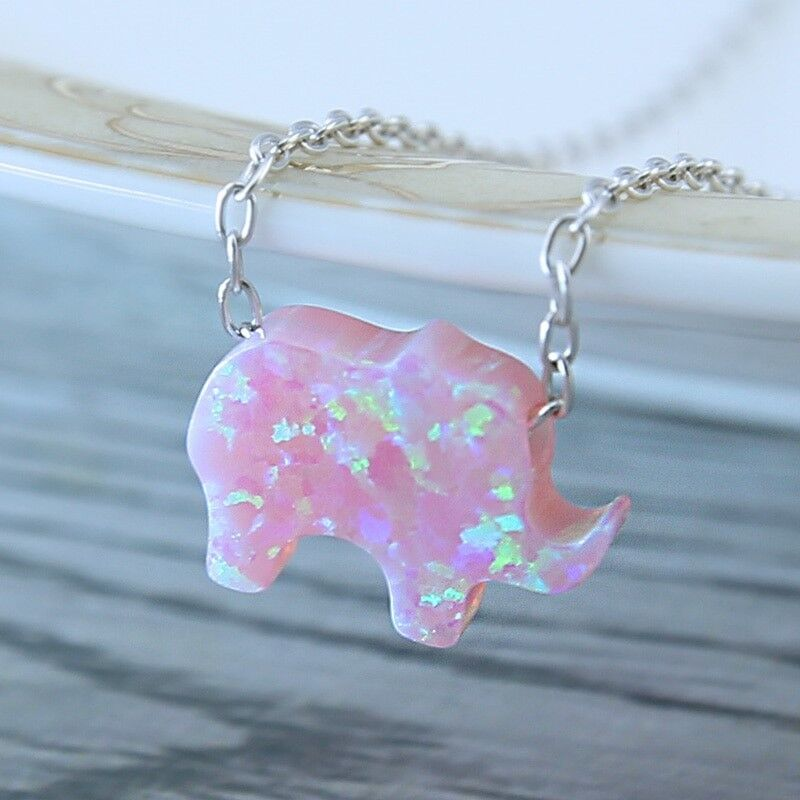 Cute Silver Color Purple / Blue Crystal Elephant Pendant Necklace Birthday Gifts Fashion Jewelry