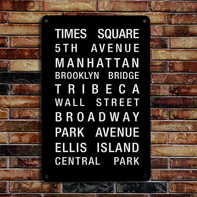 New York destination bus blind A4 metal plaque sign