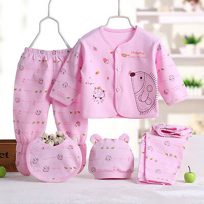 New 5 Pcs Cotton Newborn Baby Clothes Sets 0-3 Month Boy Girls Sleepwear Pants