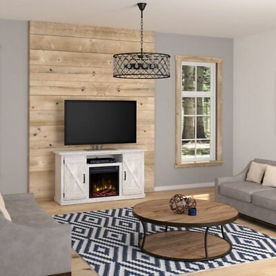 """New White Wash Wood 2 Barn Door Electric Fireplace Stand Cabinet TV up 55"""" Heat"""