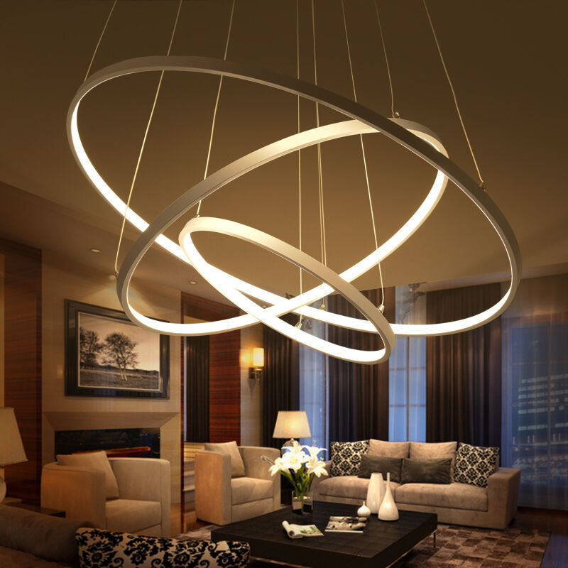 Acrylic Led Ring Chandelier Pendant Lamp Ceiling Light: Circular Ring Pendant Lights 3/2/1 Circle Rings Acrylic