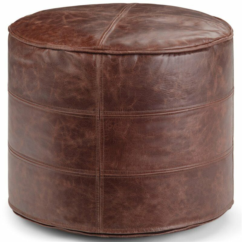Simpli Home Connor Transitional Leather Round Ottoman in Distressed Brown