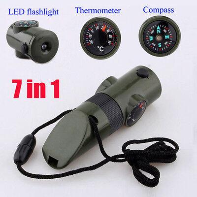 7en1 Equipement de survie en plein air sifflet boussole thermomètre lampe loupe