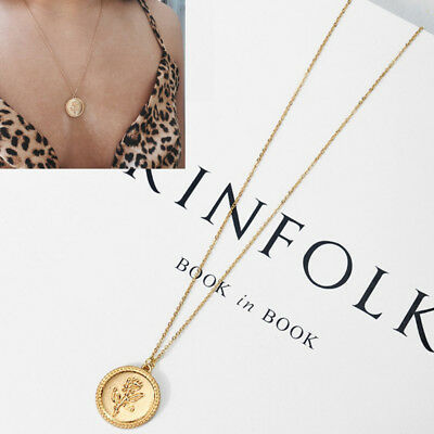 Gold Alloy Rose Flower Round Coin Pendant Long Chain Necklace Jewelry for (Coin Pendant Necklace Jewelry)