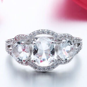 New Silver plated White Topaz CZ Ring Size 8