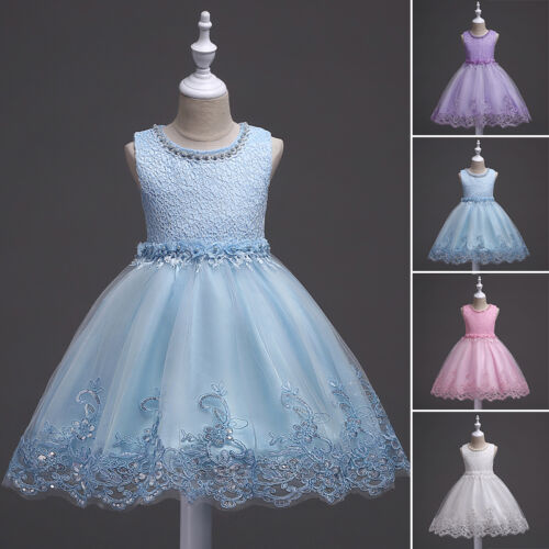 2c4b576328 Flower Girls Princess Dress Kids Baby Party Wedding Pageant Lace ...