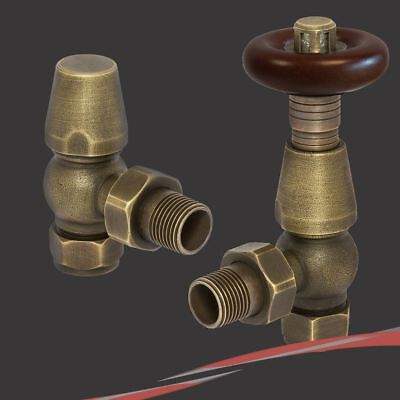 Antique Brass Traditional Round Top Angled Thermostatic Valves for Radiators