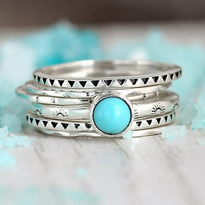 Stacking Turquoise Ring Set Sterling Silver Women Stone Stackable Boho Western