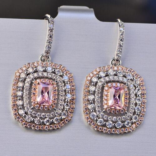Eardrop Earrings S925 Silver Topaz Elegant Pink Wedding Xmas Gifts For Her Women 5