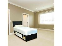 Brand New 3FT Single Black Fabric Slide Storage Bed Set ( Base & Mattress) With Fast Delivery